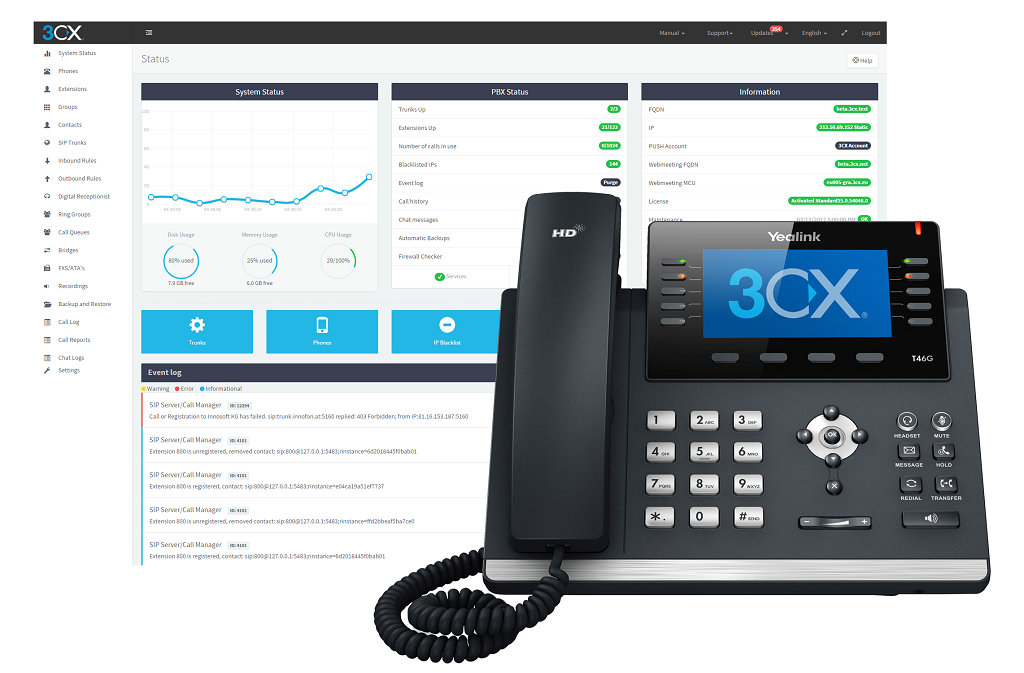 3CX Management Console and Yealink Phone
