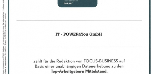 IT-POWER4You ist Top Arbeitgeber